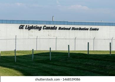 Oakville, Ontario, Canada - July 28, 2019: Building of GE Lighting Canada in Oakville, Ontario, Canada, a Lighting wholesaler.