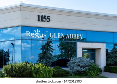Oakville, Ontario, Canada - July 28, 2019: Regus Clen Abbey office space in Oakville, Ontario, Canada. Regus is the world's largest provider of flexible workplaces.