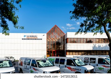Oakville, Ontario, Canada - July 28, 2019: Building of U-Haul Moving & Storage of West Oakville, Ontario, Canada. U-Haul is an American moving equipment and storage rental company.