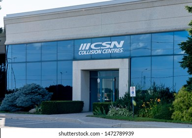 Oakville, Ontario, Canada - July 28, 2019:  The entrance of a CSN collision  centres in Oakville, Ontario, Canada. CSN is Canada's largest network of auto body repair and collision repair shops.