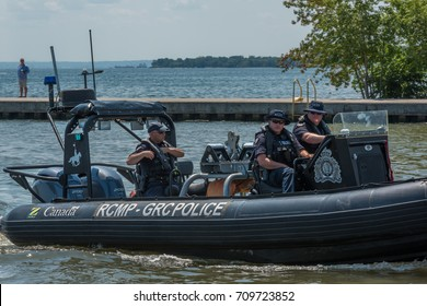 Oakville, Ontario, Canada - July 30, 2017: A Royal Canadian Mounted Police (RCMP), Marine Security Enforcement Team unit on patrol along Oakville, Ontario shoreline.