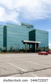 Oakville, Ontario, Canada- May 12, 2018: Sign of Genworth Canada on the head office building in Oakville, Ontario, the largest private residential mortgage insurer in Canada.