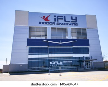 Oakville, Ontario, Canada - May 20, 2019: iFLY Toronto (Oakville) Indoor Skydiving.  iFLY Toronto is a 14 foot recirculating model and is one of the Tourist attraction in Oakville, Ontario, Canada.