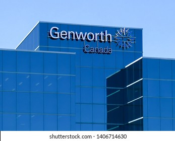 Oakville, Ontario, Canada - May 20, 2019: Sign of Genworth Canada on the building in Oakville, Ontario, Canada. Genworth Financial is an S&P 400 insurance company.