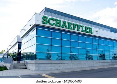 Oakville, Ontario, Canada - May 27, 2019: Schaeffler Canada in Oakville, Ontario, Canada. Schaeffler Group is a manufacturer of rolling element bearings in Germany.