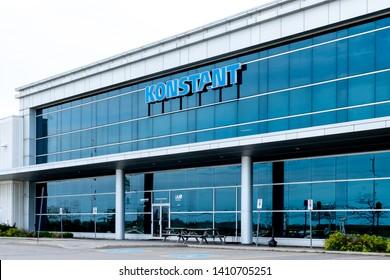 Oakville, Ontario, Canada - May 27, 2019: Sign of KONSTANT in Oakville, Ontario, Canada. KONSTANT is a Canadian Material handling equipment supplier.