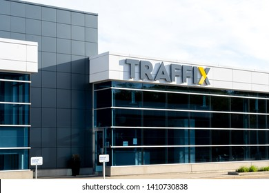 Oakville, Ontario, Canada - May 27, 2019: Sign of Traffix office in Oakville, Ontario,Canada. TRAFFIX is one of North America's longest-serving transportation specialists.