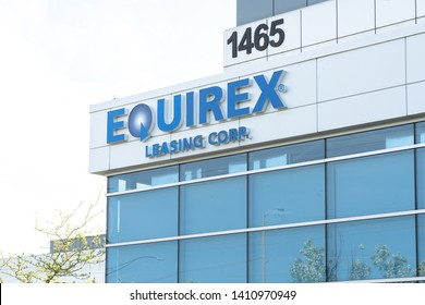 Oakville, Ontario, Canada - May 27, 2019: Sign of Equirex Corporate office in Oakville, Ontario, Canada. Equirex Leasing Corp., is a Canadian capital leasing company.