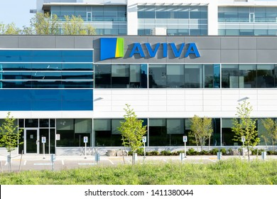 Oakville, Ontario, Canada - May 27, 2019: Sign on the Aviva Canada's office in Oakville, Ontario, Canada. Aviva plc is a British insurance company, a general insurer and a life and pensions provider.