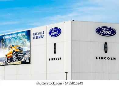 Oakville, Ontario, Canada - May 27, 2019: Sign and building in Ford Motor Company of Canada in Oakville, Ontario, Canada.  The Ford Motor Company is an American multinational automaker.