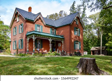 Oakville, Ontario, Canada- September 29, 2019: Spruce Lane Farmhouse in Bronte Creek Provincial Park, Oakville, Ontario. Built in 1899, the Spruce Lane Farmhouse is a historic house museum.