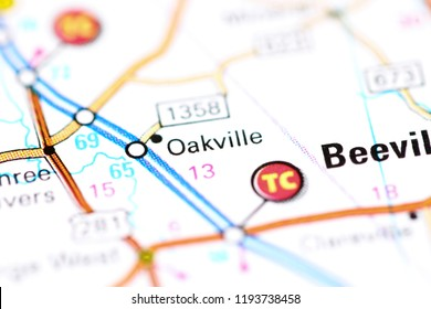 Oakville. Texas. USA on a map