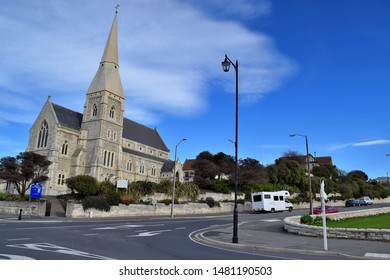 Oamaru, New Zealand - 9th of May, 2015: Iconic St Lukes Church and surroundings in Oamaru city.
