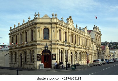 Oamaru, New Zealand - September 29, 2018: Restored Criterion Hotel Building in the Historic District of Oamaru, North Otago, New Zealand.