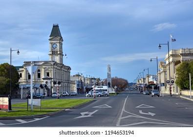Oamaru, New Zealand - September 29, 2018: Thames Street on a Spring evening   Oamaru, North Otago, New Zealand