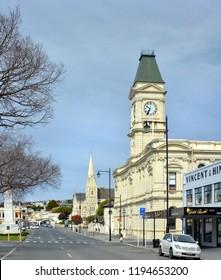 Oamaru, New Zealand - September 29, 2018: Waitaki District Council Building in Thames Street, Oamaru, New Zealand