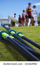 Oars With Background of a Busy Rowing Regatta