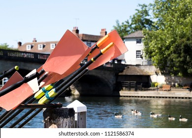 Oars Stacked Next To River Thames At Henley On Thames In Oxfordshire UK