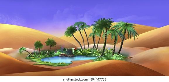 Oasis in a Desert / Digital painting