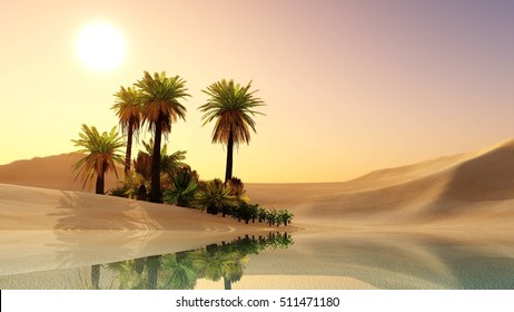 Oasis in the desert sand. Palm trees and a lake. 3d rendering.