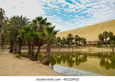 Oasis- Huacachina, a village in southwestern Peru, built around a small oasis surrounded by sand dunes, Ica Region, Peru