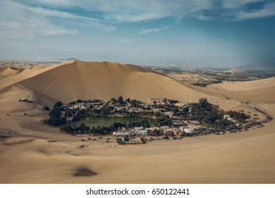 An oasis like area, Huacachina in the desert of Ica, Peru