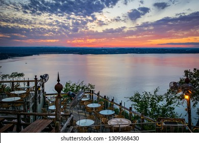 From the Oasis location overlooking lake travis at sunset.
