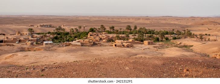 Oasis village in iranian desert