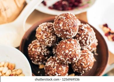 Oat balls, oat dates energy balls, selective focus