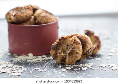 Oat biscuits on a light background