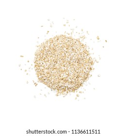 Oat bran shaped in the form of a circle. Overhead close up view, isolated on white background