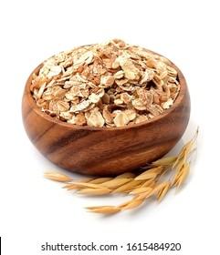 Oat flakes in bowl isolated on white backgrounds . Oat porridge.Oats harvest . Oat grain sack. Ears of oats.