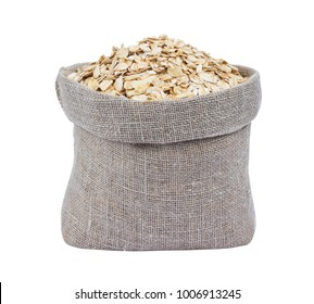Oat flakes in burlap bag isolated on white