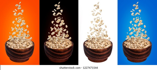 Oat flakes falling in bowl, isolated on white, black and color backgrounds, flying oats packaging concept, oatmeal grains