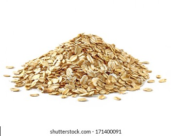 Oat flakes heap or pile isolated on white background