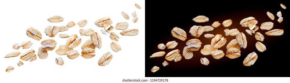 Oat flakes isolated on white and black backgrounds. Falling oats