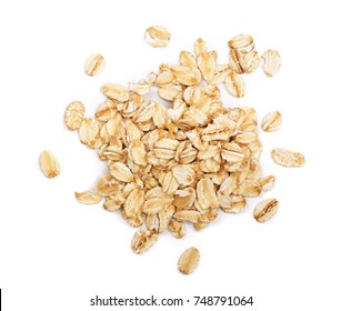 oat flakes isolated on white background. Top view