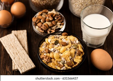 Oat flakes with milk and nuts. Fitness breakfast.  Healthy eating, dieting, slimming and weigh loss concept.