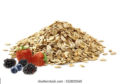 Oat flakes pile or heap with berry fruits isolated on white background