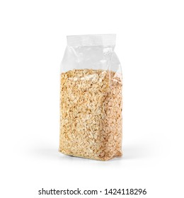 Oat flakes in transparent plastic bag isolated on white background. Packaging template mockup collection. Stand-up Half Side view package.