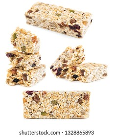 Oat Granola cereal bars isolated on white background