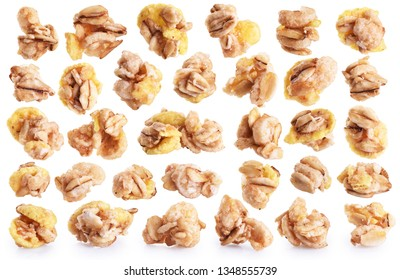 Oat granola cereal isolated on white background. Collection with clipping path.
