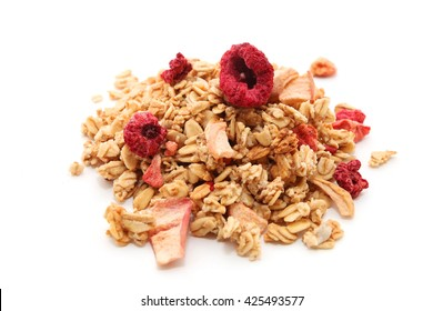 Oat Granola with dried raspberries breakfast cereal isolated on white background