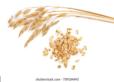 oat spike with oat flakes isolated on white background