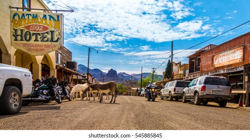 OATMAN, Arizona - September 10, 2015: Panoramic view of Oatman - a historic ghost town in Arizona, USA. Picture made during a motorcycle road trip through the western us states.