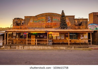 Oatman, Arizona, USA - December 28, 2017 : Restaurant in Oatman on the historic Route 66. This former mining town is situated in the Black Mountains of Mohave County in Arizona.
