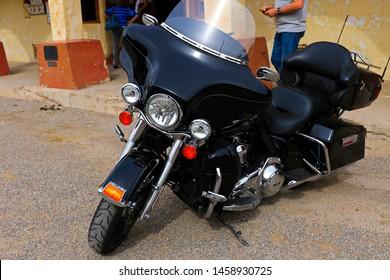 Oatman,AZ/US - Oct 26, 2016: Harley Davidson motorcycle at Oatman street.