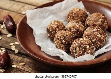 Oatmeal balls / Oats dates energy balls, selective focus