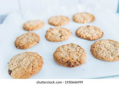 Oatmeal broun homemade cookies on white table. Healhy desserts, diet