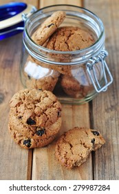 Oatmeal cookie in a jar